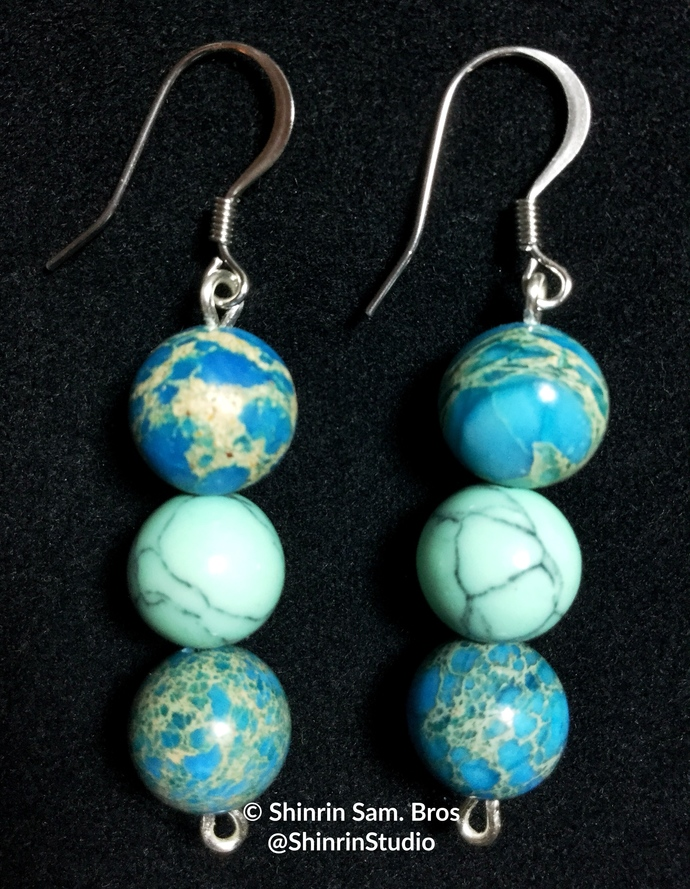 Blue Imperial Jasper and Turquoise Earrings