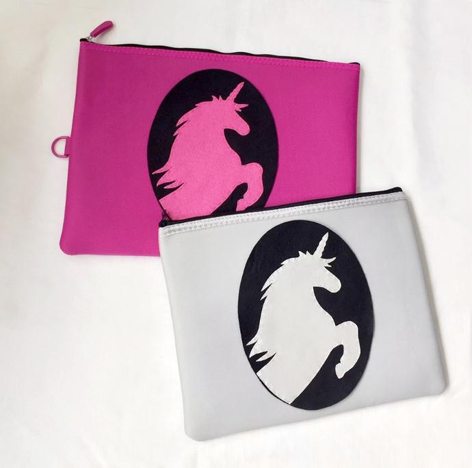 Fuchsia Unicorn Padded Zipper Pouch. Hot Pink Unicorn Ipad Pouch. Fairy Tale Zip