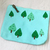 Hand Embroidery Green Forest Light Turquoise Zipper Pouch. Handmade Woodlands
