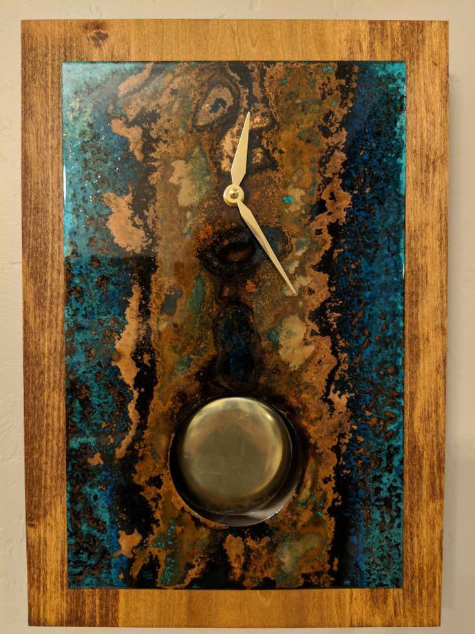 Copper Wall Clock. Wall Decor. Copper Patina. Custom Clock.