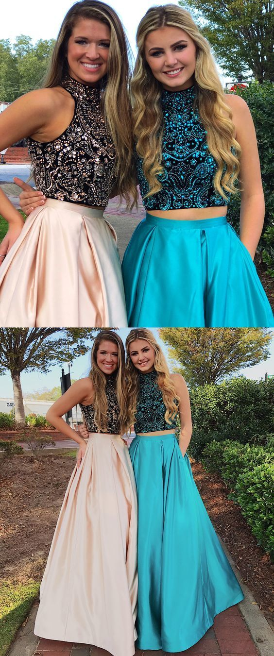 sparkly two piece long prom dress, beaded long prom dress, formal evening