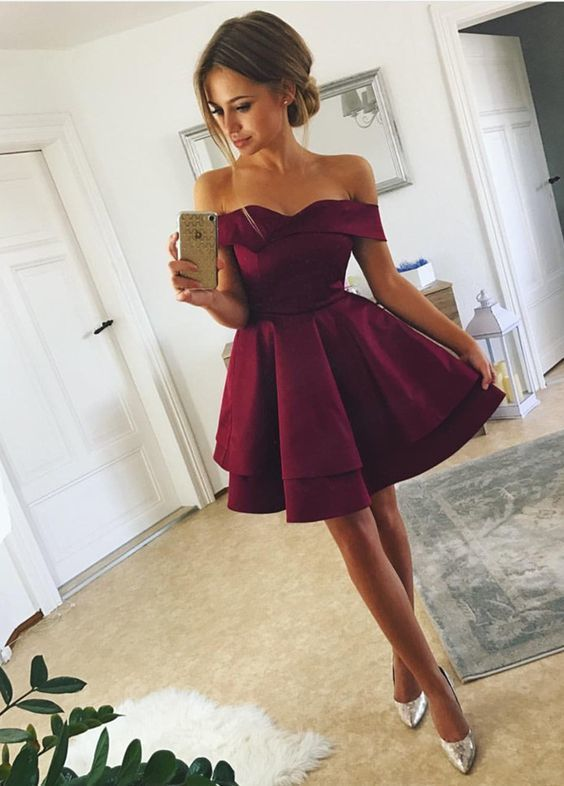 Short Satin V Neck Off-The-Shoulder Homecoming Dresses,112613