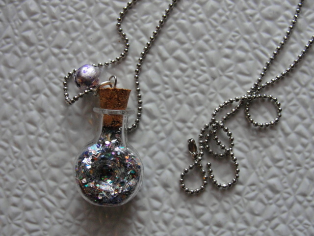 MINI FAIRY Bottle Necklace--BELL--Silver Toned Thin Ball Chain--Stocking