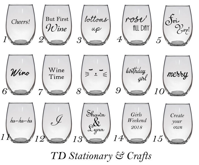 Custom Stemless Glass Wine Glass
