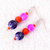 Dangle Earrings beaded in Pink, Orange, and Purple - Hot Salsa colors