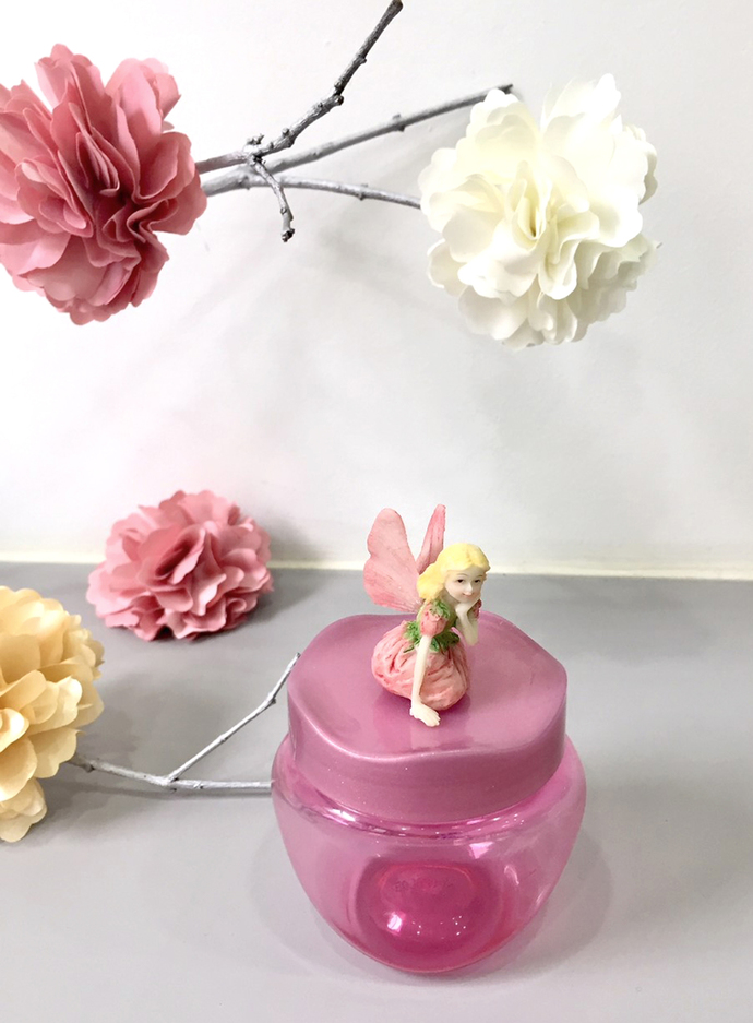 Repurposed Pink Fairy Jar. Fairy Tale Girls Room Decor. Girls Gift Under 20.