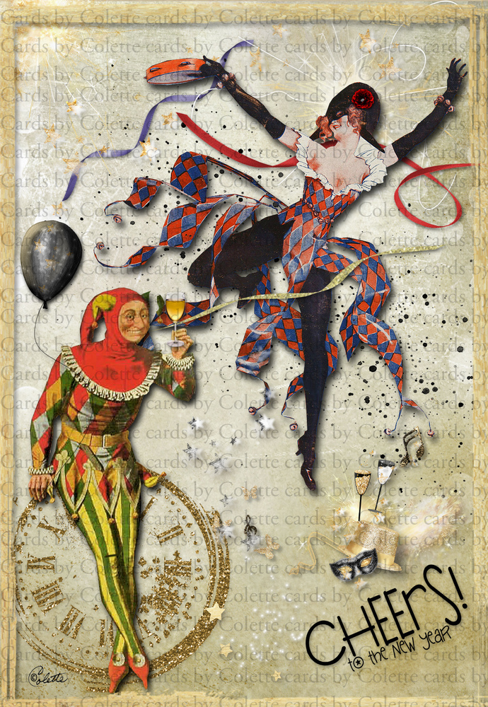 new year cheers digital collage greeting card