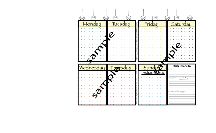 Bullet Journal Template GRID DOT Paper- both pages are 11x8.5 Inches - Multi