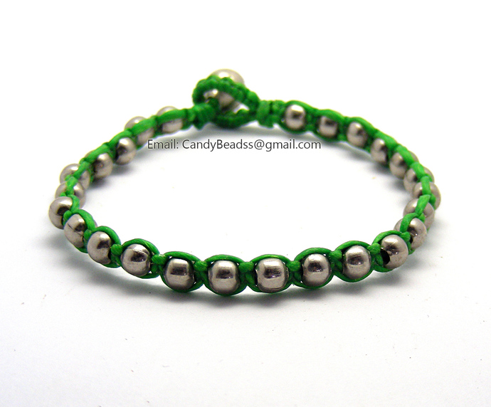 Mixed beads waxed cord bracelet, 7 inches