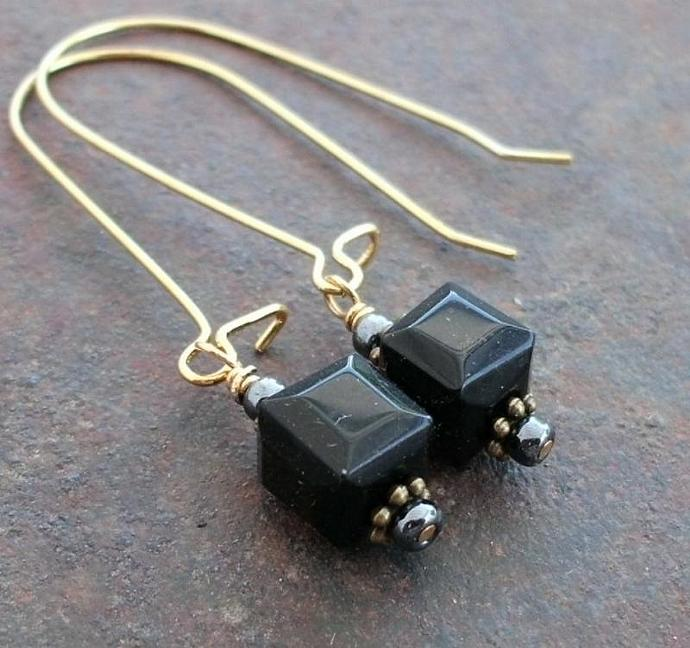 Long Dangle Earrings with Black Crystal Cubes