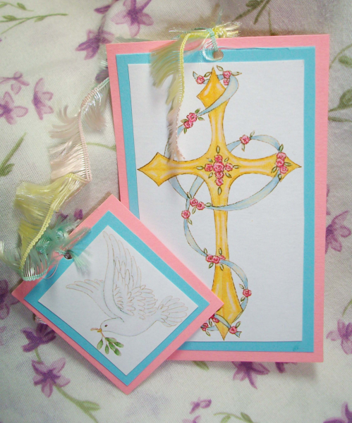 Cross & dove bookmark