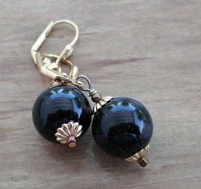 Black Onyx and Bright Gold Leverback Earrings