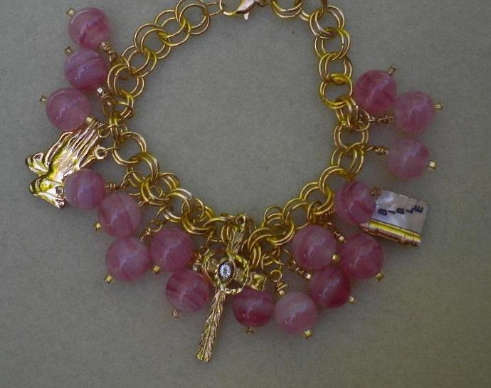 Pink Religious Charms Bracelet