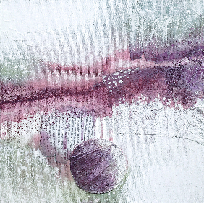 small abstract, collage,textured, 10x10, green and purple, contemporary art, set