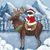 Merry Christmas Moose and Santa Cat Folk Art Giclee Print 8x10, 11x14