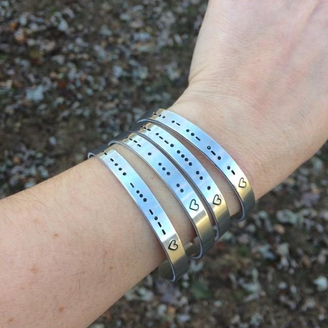 Morse Code Stamped Cuff