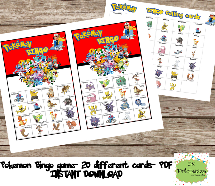 Pokemon Bingo game (include 20 different cards)- Pokemon printable bingo