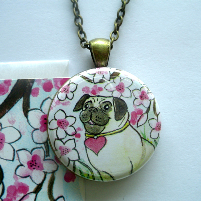 Sweet Cherry Blossom Pug Pendant and ACEO Art Card