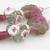 Fuchsia flower lampwork earrings muscovite sterling silver keishi pearl pink