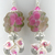 Fuchsia flower lampwork earrings muscovite sterling silver keishi pearl pink