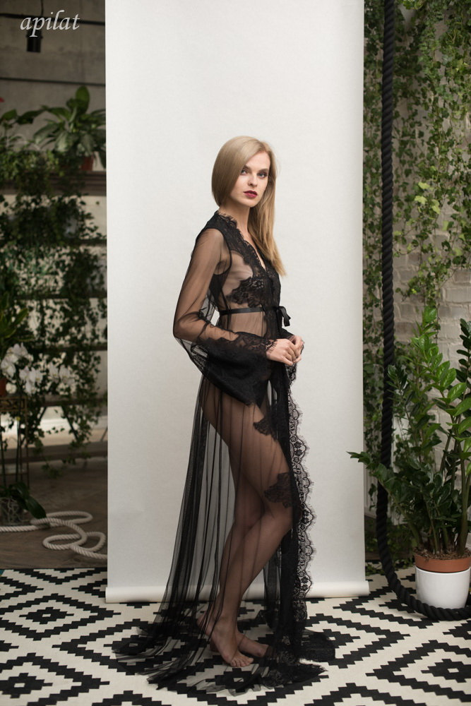 Black Lace-trimmed Tulle Bridal Robe F14(black), Black Bridal Robe, Black