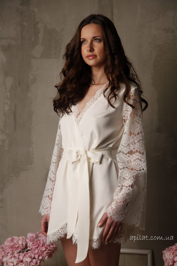 Short Silk Bridal Robe with Lace Sleeves  F6(Lingerie), Bridal Lingerie, Wedding