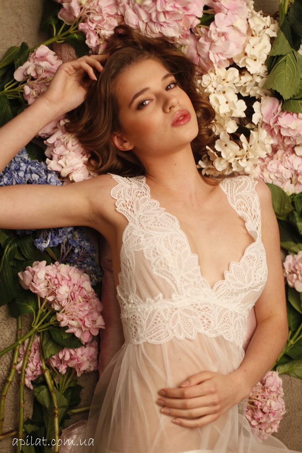 Long White Tulle Bridal Nightgown With Lace F11, by APILAT on Zibbet