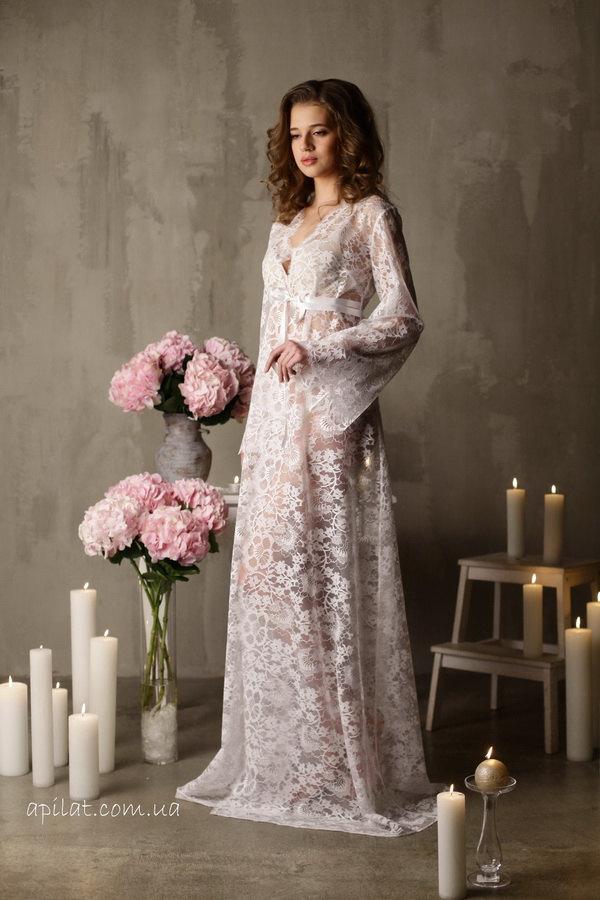 Long Lace Bridal Robe F3(Lingerie, Nightdress), Bridal Lingerie, Wedding