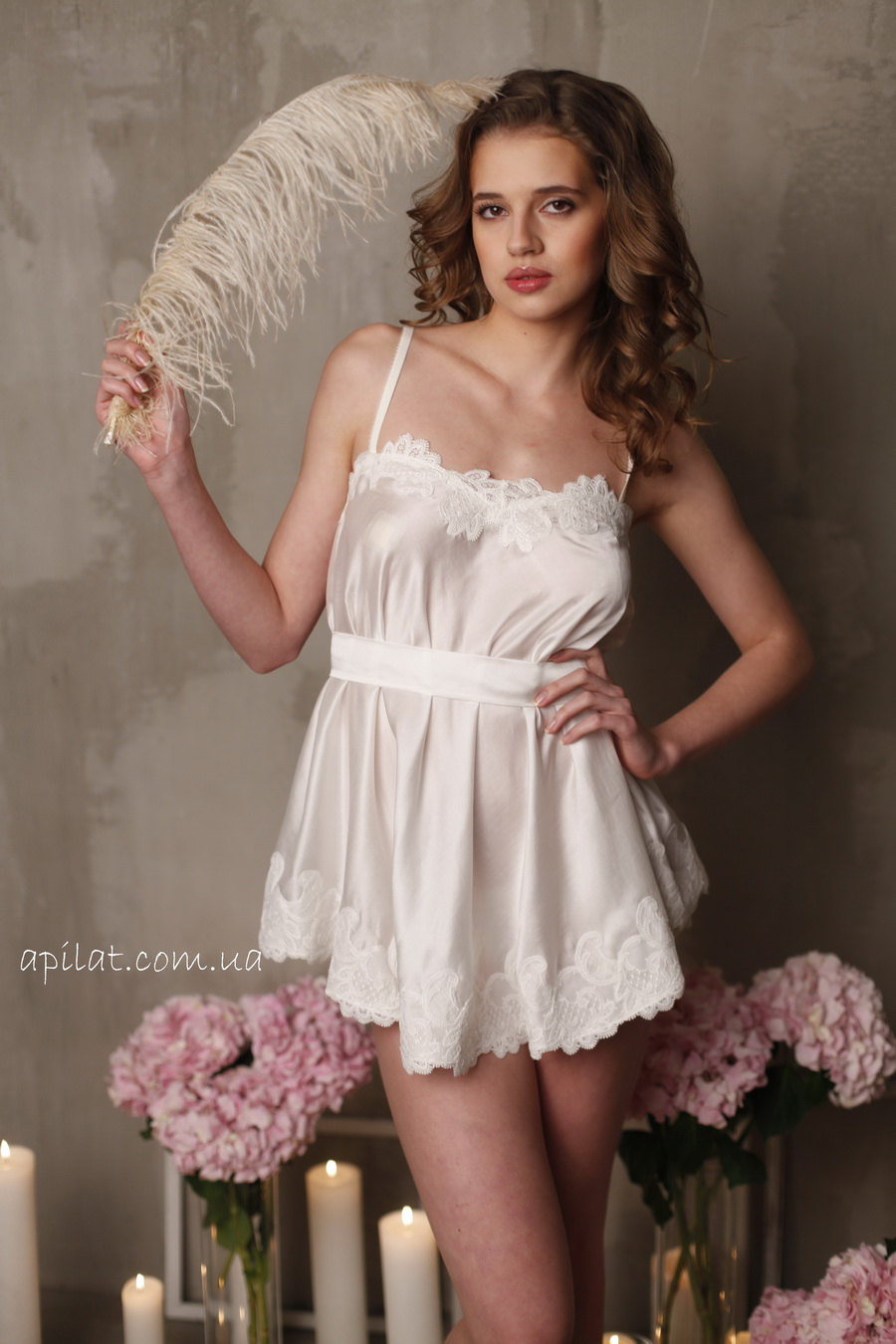 Bridal camisole with lace f8 lingerie nightdress by for Best bra for wedding dress