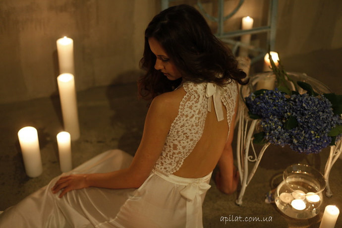 Long Lace Bridal Nightgown With Open Back F5(Lingerie, Nightdress) Bridal