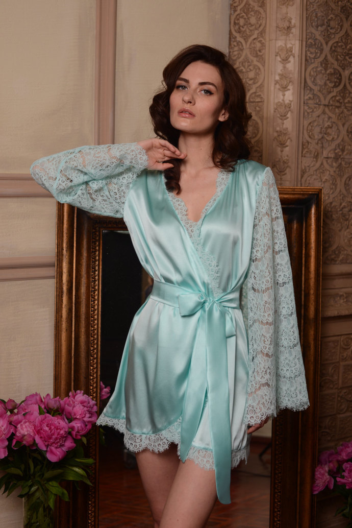 Blue Short Silk Bridal Robe with Lace Sleeves F6, Bridal Lingerie, Wedding