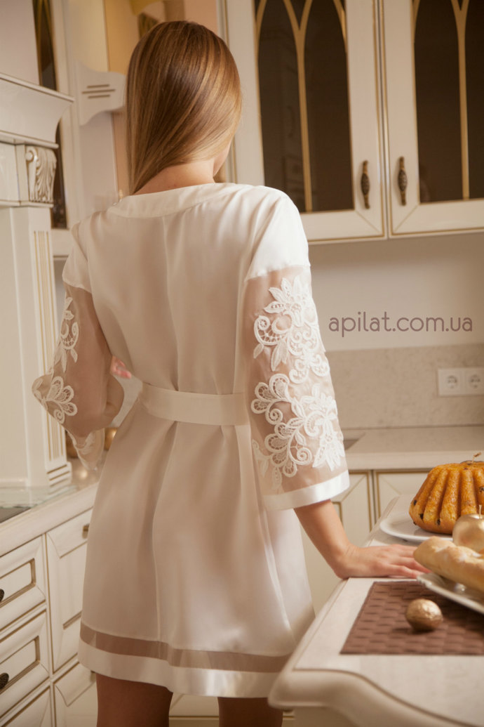 Short Silk Bridal Robe with lace handmade decoration D7(Lingerie), Custom Order