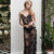 Long Black Lace Nightgown With Open Back F16(black), Bridal Lingerie, Wedding