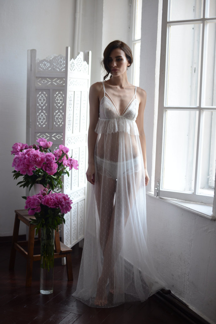 Long Tulle Bridal Nightgown With Lace F13 with Lace Brief(Lingerie Set)(Ivory),