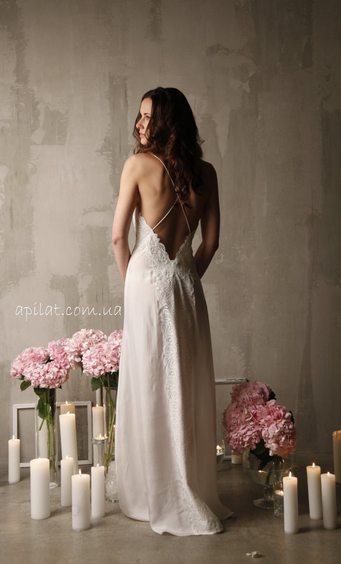 Long Silk Bridal Nightgown With Open Back and Lace by APILAT on Zibbet