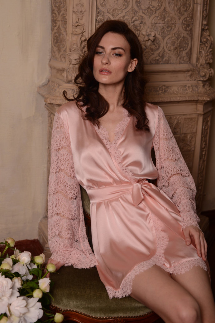 Short Silk Bridal Robe with Lace Sleeves  F6(Lingerie, Nightdress), Bridal