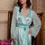 Blue Short Silk Bridal Robe with Lace Sleeves  F6,Bridal Lingerie, Wedding