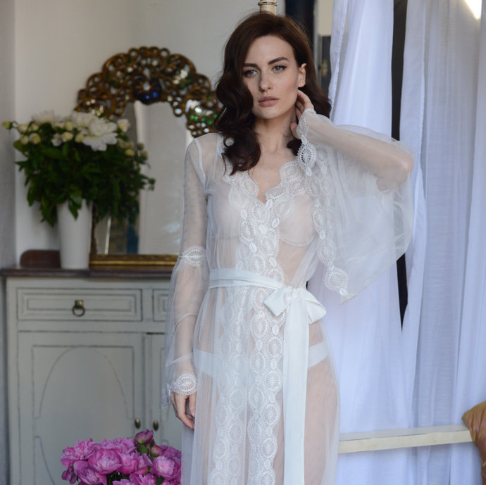 Lace-trimmed Tulle Bridal Robe F10 (Lingerie, | APILAT