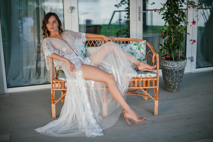 Long Tulle Bridal Robe with Lace F20, Lace-trimmed Tulle Bridal Robe, Bride