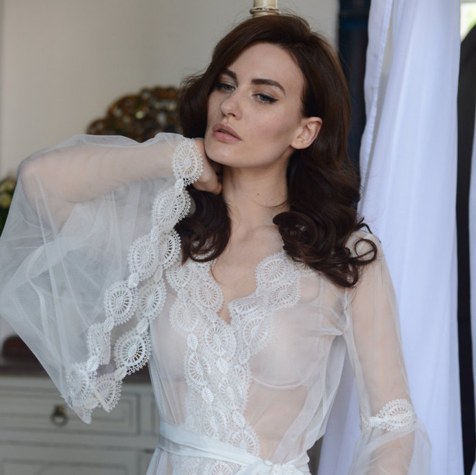 Lace-trimmed Tulle Bridal Robe F10(Lingerie, | APILAT