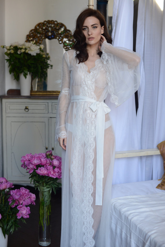 Lace-trimmed Tulle Bridal Robe F10(Lingerie, Nightdress), Bridal Lingerie,