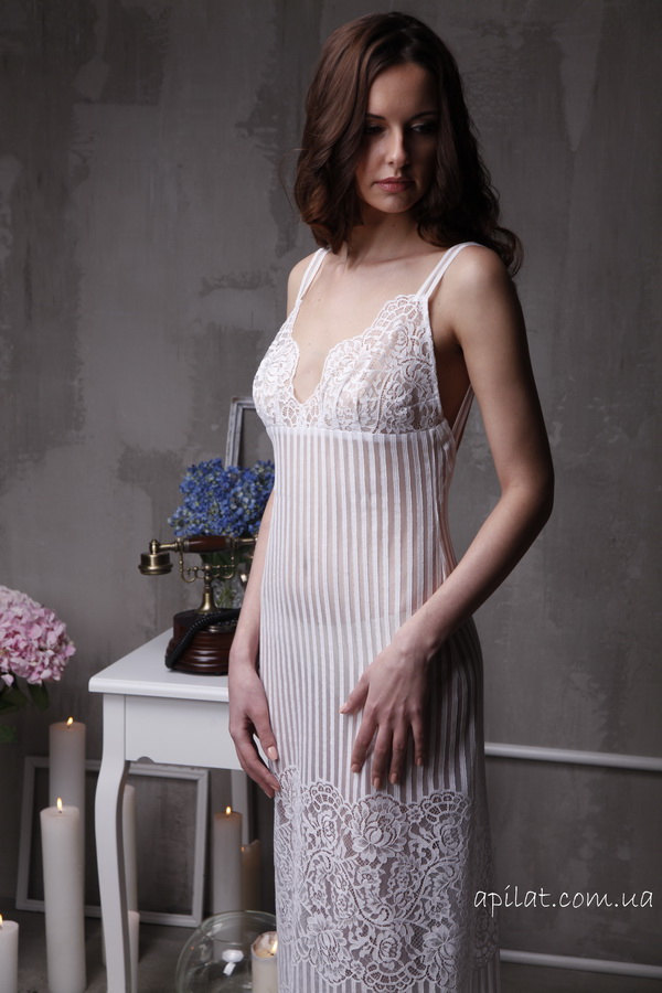 Long Lace Bridal Nightgown With Open Back F4( Nightdress), Bridal Lingerie,