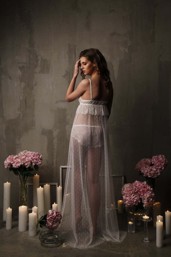 Long Tulle Bridal Nightgown With Lace F13(Lingerie, Nightdress), Bridal