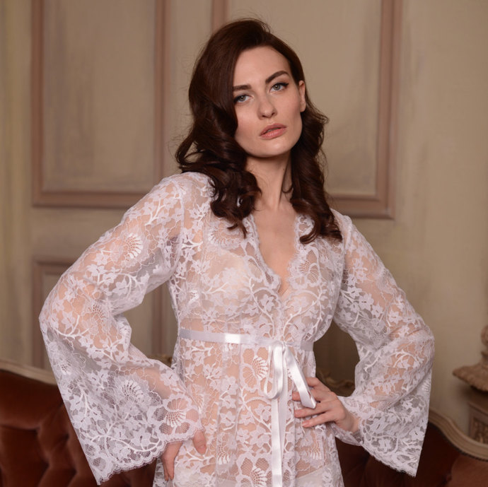 Long Lace Bridal Robe F3, White Lace Tie Front Nightgown Bridal Lingerie,