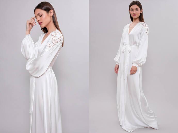 Long Bridal Robe F22, Long Silk Bridal Robe, Bride Robe, Bridal Robe with Lace,