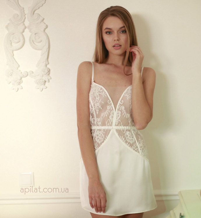 Silk Bridal Chemise with lace D10(Lingerie), Short wedding nightgown, Bridal