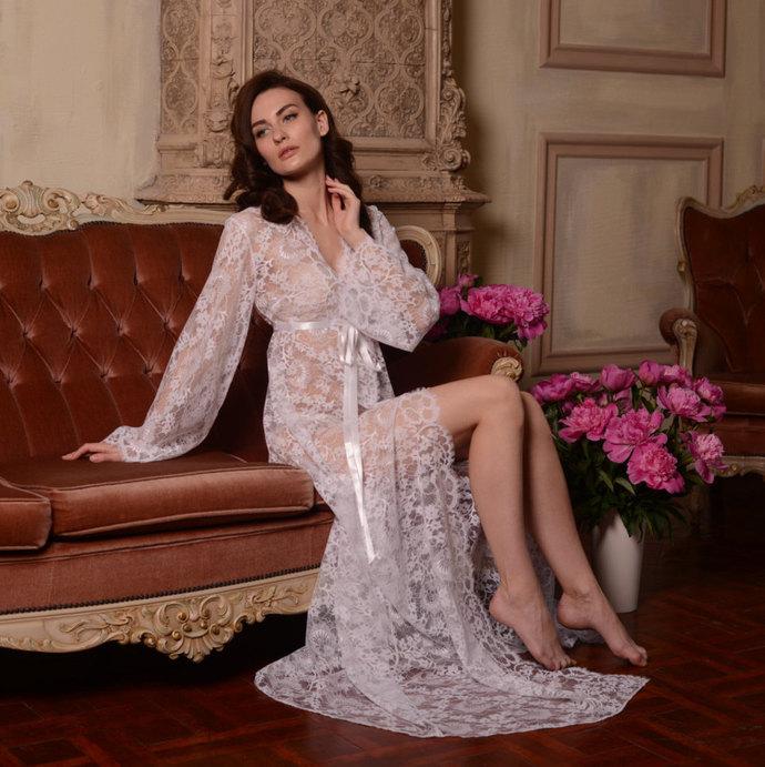 Long Lace Bridal Robe F3, Bridal Lingerie, Wedding by APILAT on Zibbet