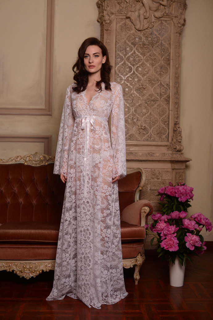 Long Lace Bridal Robe F3, Bridal Lingerie, Wedding | APILAT