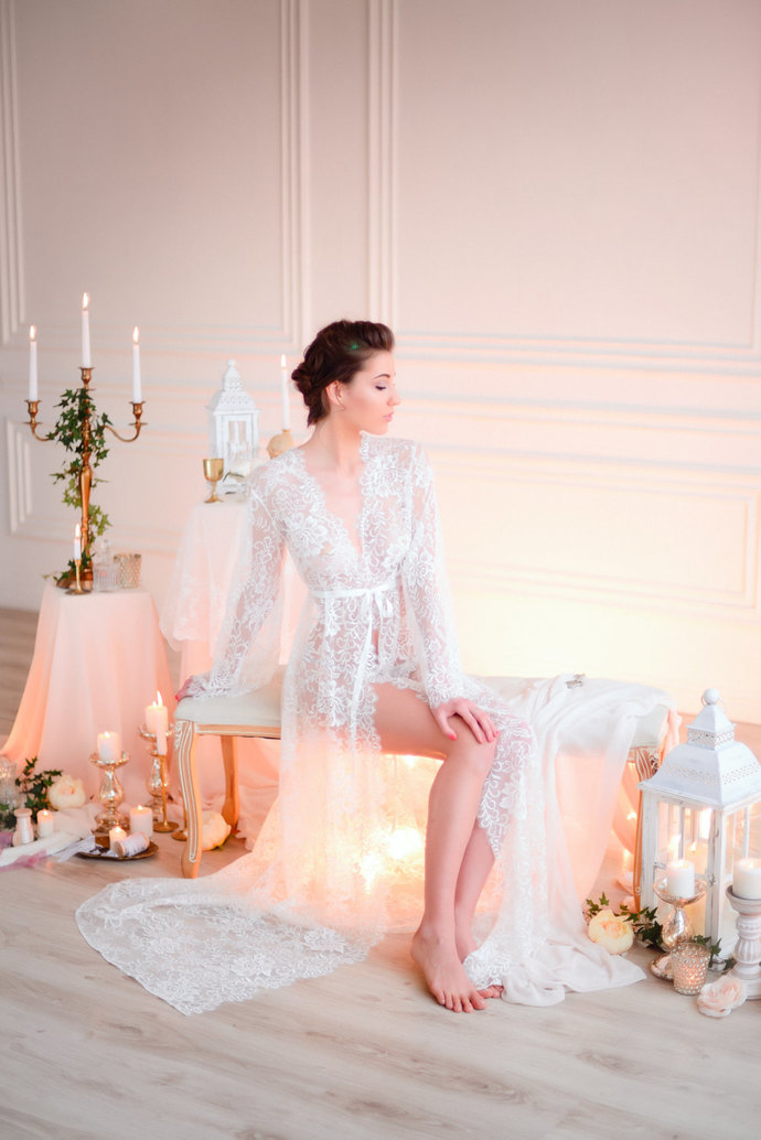 Long Lace Bridal Robe F3.2(Lingerie, Nightdress), Bridal Lingerie, Wedding