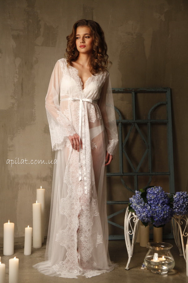 Lace-trimmed Tulle Bridal Robe F14(Lingerie, by APILAT on Zibbet